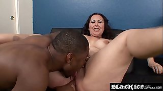 BBW chick facialized after interracial rough BJ's