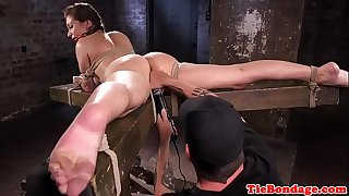 Big-titted Domination & submission sub tied up and pussy fingered