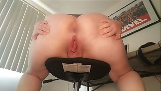 Pissing off of stool from behind