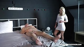 Grandpa wants to wank but step-niece comes and fucks him