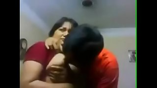 My aunty smooching me and boobs pressing