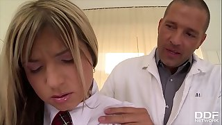 Schoolgirl Gina gets rock hard cock anal ride on clinic's examination table